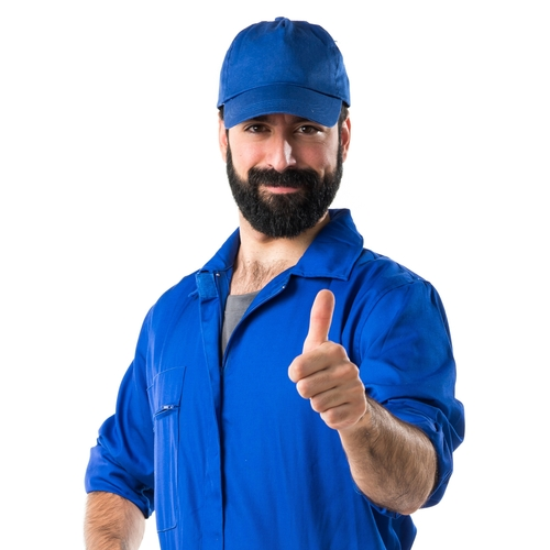 a man in a blue uniform giving the thumbs up gesture